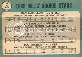 #533 Mets Rookies: Dan Napoleon, Ron Swoboda, Jim Bethke, and Tug McGraw (back)