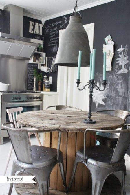 decorar cocina nordica con pintura reciclada muebles industriales y tolix