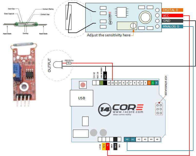 Wiring Reed Switch Module With Arduino Microcontroller 14core Com