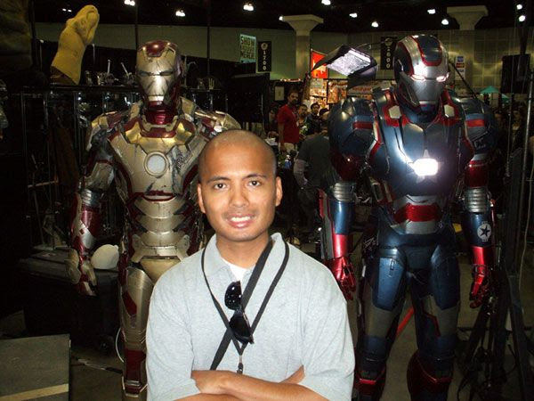 Posing with the Mark 45 and Iron Patriot from IRON MAN 3...at Stan Lee's Comikaze Expo in downtown Los Angeles, on November 2, 2013.