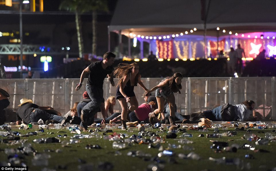 On some days Paddock spent more than $30,000, and on others more than $20,000, according to an individual who had seen Paddock's Multiple Currency Transaction Reports. Pictured: The scene of the nightmare in Vegas