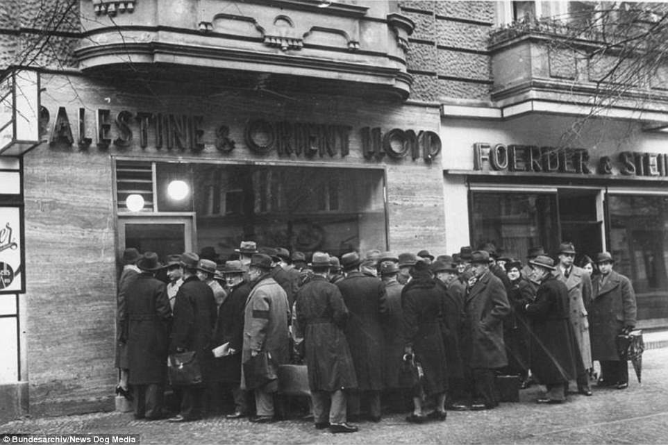 Before the outbreak of the Second                                 World War, many Jewish people tried to                                 leave Germany as the brutal repression                                 they faced increased dramatically since                                 the Nazis came to power in 1933. The                                 Nazi party used propaganda to dehumanise                                 Jewish people. This group of Jewish                                 people are queuing up outside a travel                                 agent in January 1939 in the hope of                                 moving to Palestine