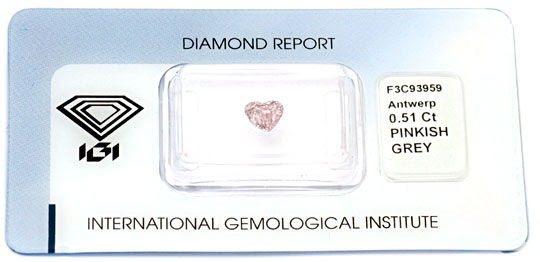 Foto 1, Pink Herz-Diamant 0,5ct Natural Pinkish Grey IGI Juwel!, D5698