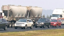 Trans Canada Highway traffic jam