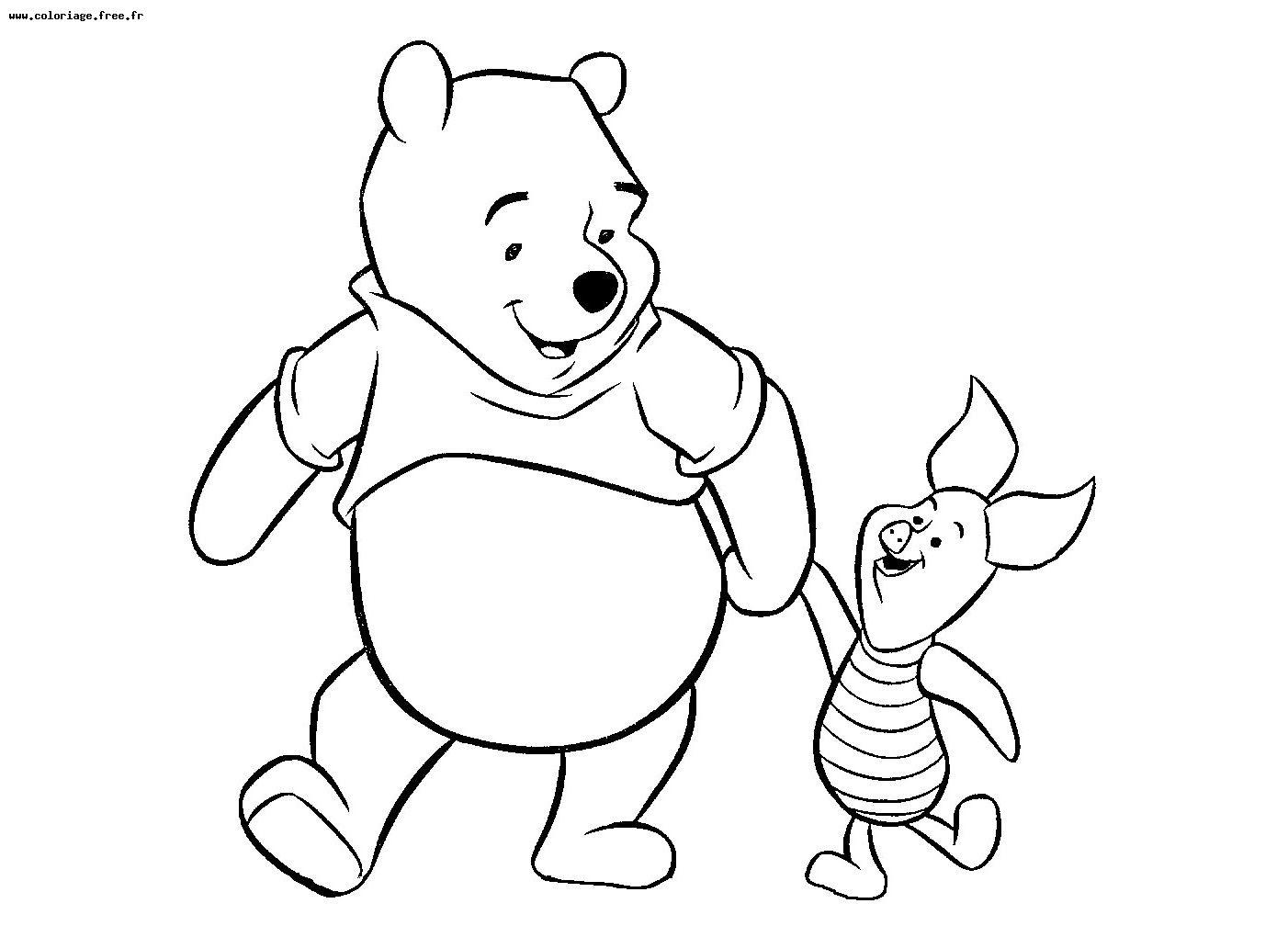 Coloriage  imprimer Personnages cél¨bres Walt Disney Winnie l ourson numéro