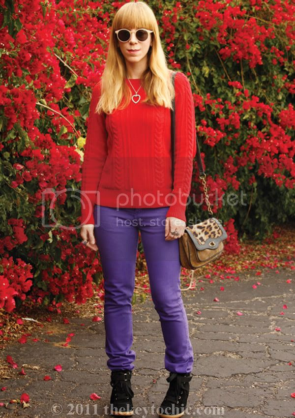 Zara cable knit sweater, American Apparel Slim Slack, Aldo Netz, southern California fashion blog