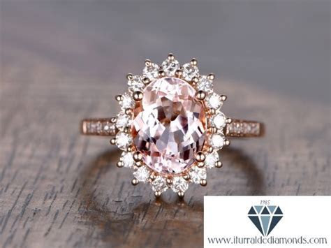 7x9mm Oval Cut Morganite Engagement Ring Flower Style