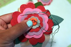 Attach Flowers with Buttons