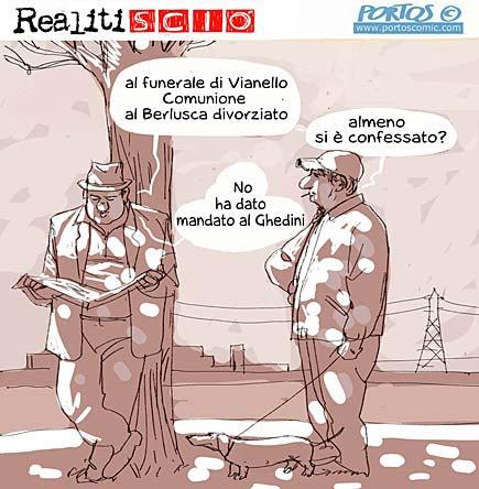 Berlusconi fa la comunione, vignetta