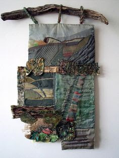 Autumn - mixed media wall hanging by Jenny Beasley. She used memories of a South Yorkshire childhood to inform this piece. #fiber_art #landscape #textiles