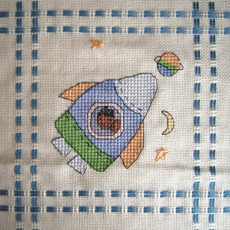 Cross Stitch - Rocket panel for Kids Company Project - stitched March 2010