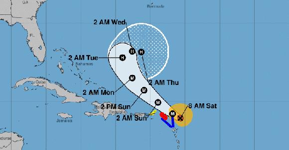 Posible trayectoria de José. Imagen: NOAA.