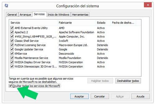 Saber los servicios que no son de Windows