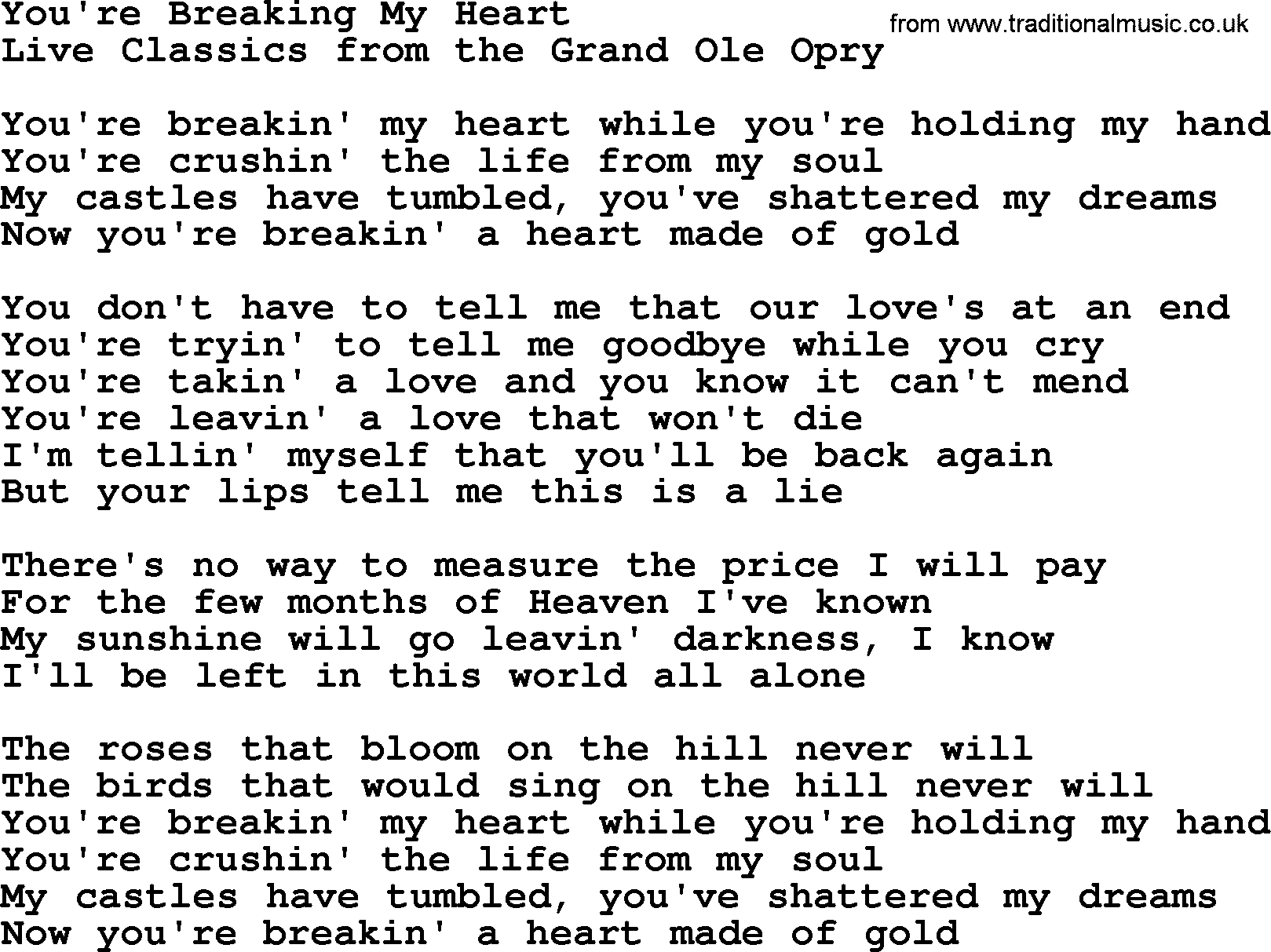 Youre Breaking My Heart By Marty Robbins Lyrics