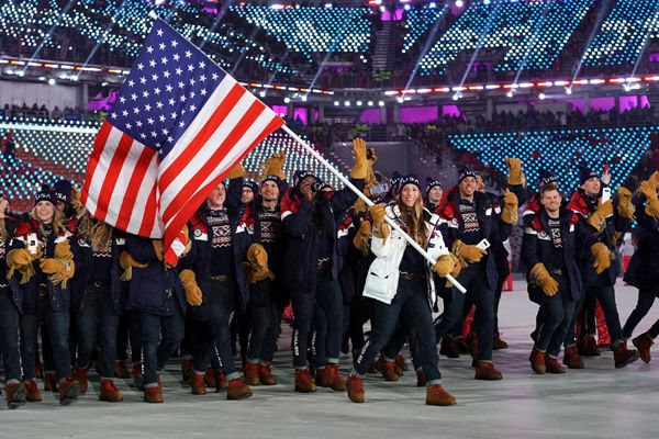 The U.S. delegation marches around the stadium during the opening ceremony of the 2018 Winter Olympic Games in PyeongChang, South Korea...on February 9, 2018.