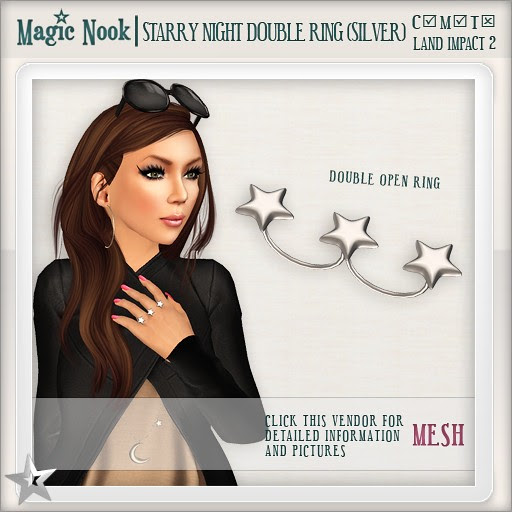 [MAGIC NOOK] Starry Night Double Ring (Silver) MESH
