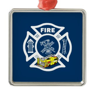 Yellow Fire Truck Rescue ornament