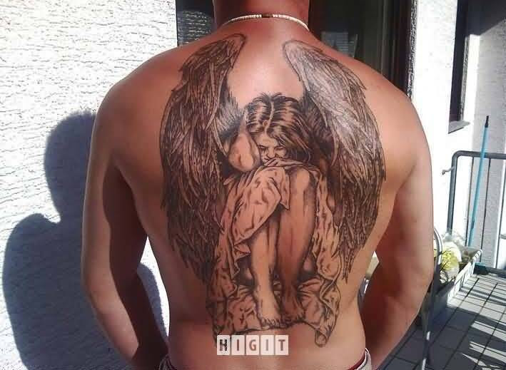 Fantastic Angel Wings Tattoo For Mens Back