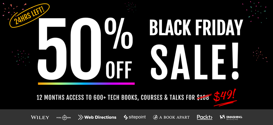 Black Friday 50% off sale on now