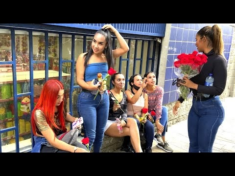 Medellín Colombia Top 24 Beautiful Women of the DAY Got Free Roses in The Streets of El Centro.