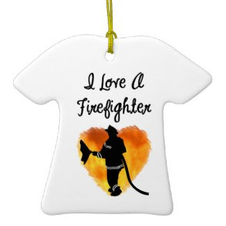 I Love A Firefighter ornament