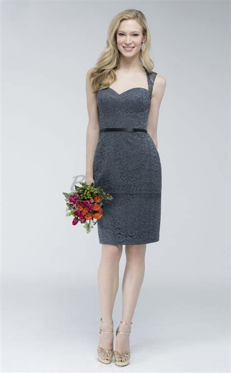 Short Dark Grey Lace Sheath Open Back Bridesmaid Dress BD