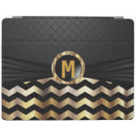 Elegant Black and Gold Chevron Pattern iPad Cover