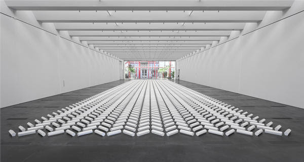 """Two-thousand plaster rods in geometric forms make up Walter De Maria's 1992 """"The 2000 Sculpture."""""""