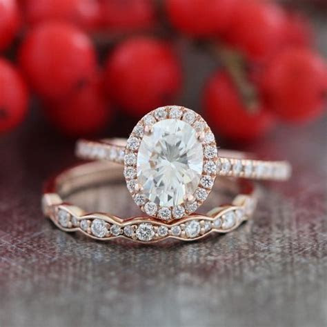 Halo Diamond Moissanite Engagement Ring 14k Rose Gold and