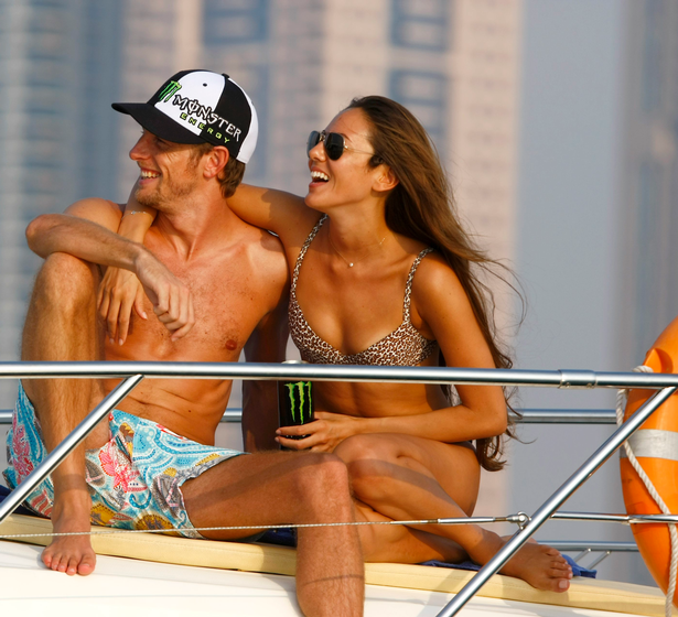 The couple cuddle up on a yacht in 2009