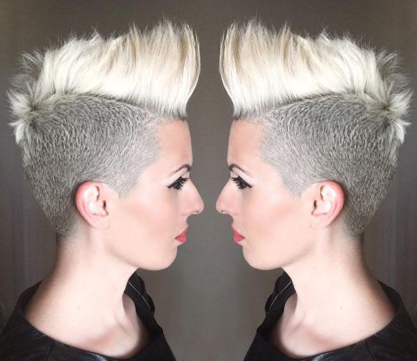 Blonde Mohawk Frisur Damen Nur Die Seite Kurz Rasiert Allefrisurende