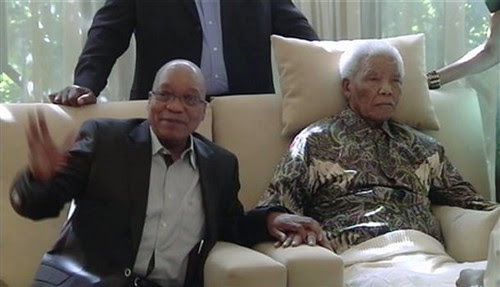 Republic of South Africa President Jacob Zuma with former President Nelson Mandela. Mandela was visited by an ANC delegation. by Pan-African News Wire File Photos