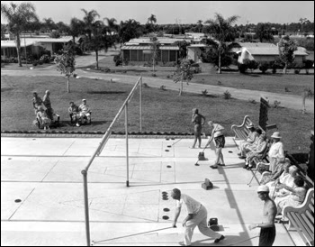 Retirees play shuffleboard at the trailer park: Clearwater, Florida (1955)