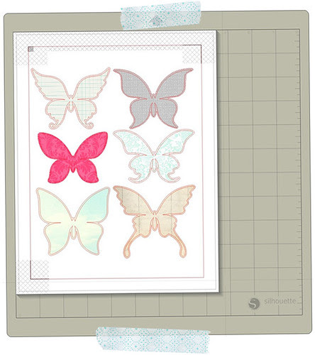 PATTERNED paper pieced butterflies PRINT & CUT WITH PRINTER'S BLEED in silhouette studio