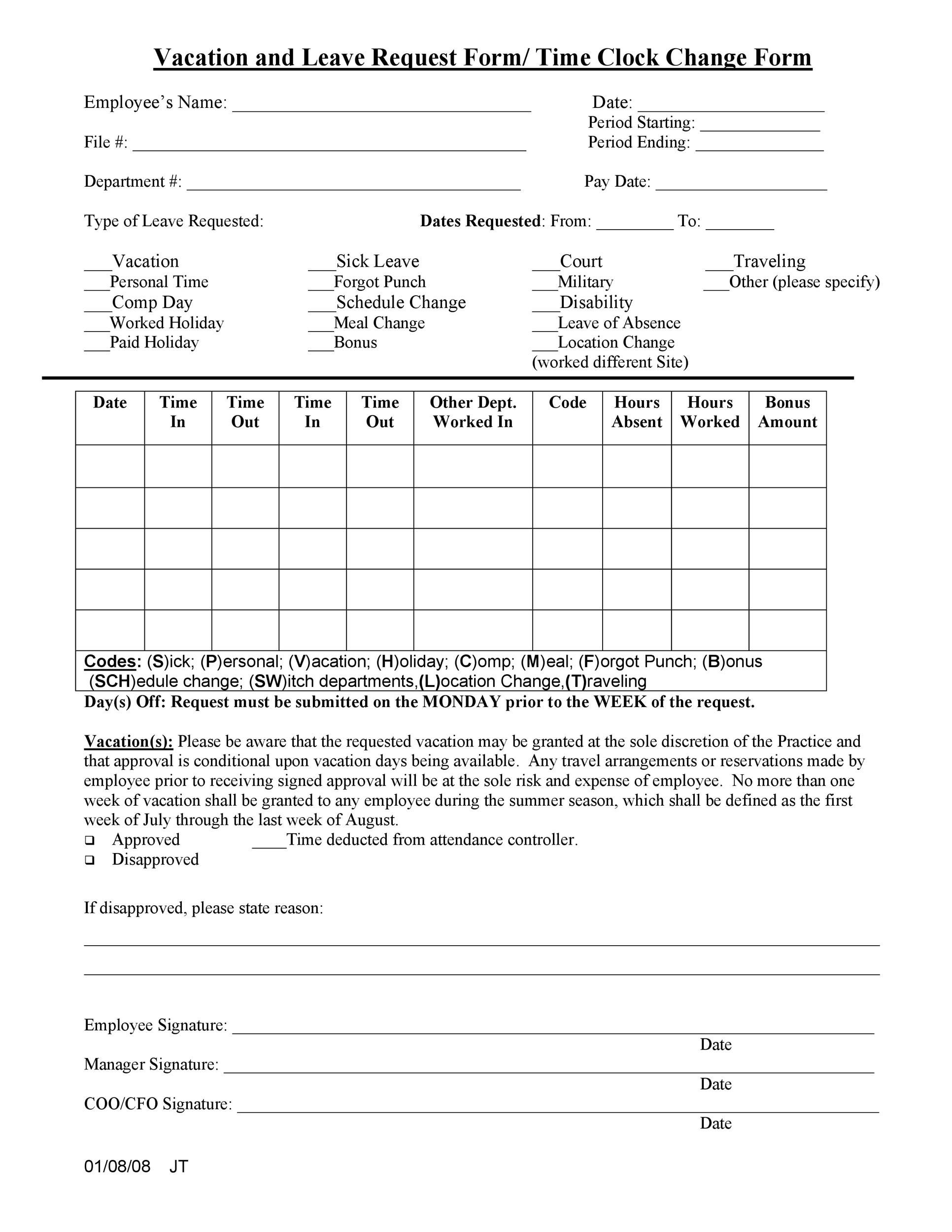 50 Professional Employee Vacation Request Forms Word ᐅ ...