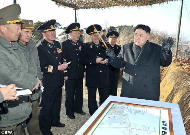 North Korean leader Kim Jong-un pictured giving instructions while inspecting the North Korean army's landing exercise on the eastern coast on Monday
