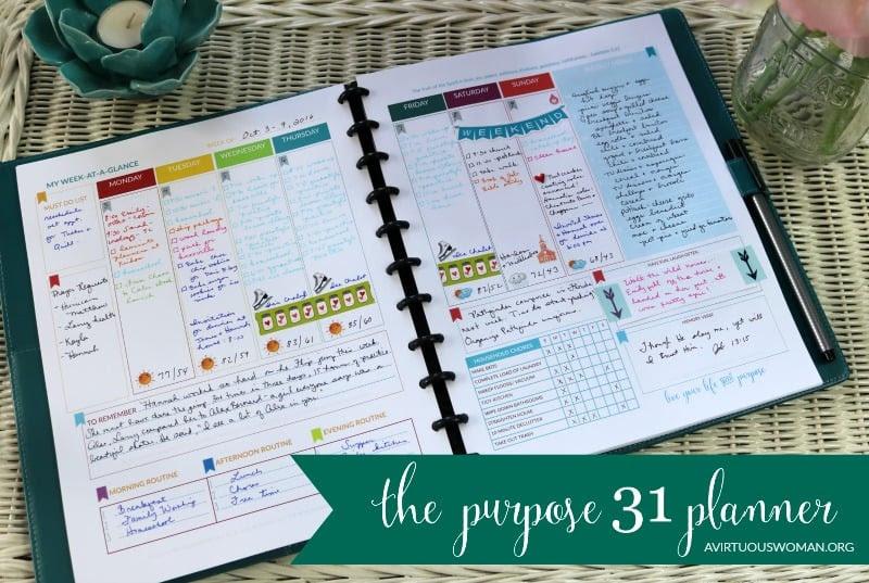 A cél 31 Planner Hét at a Glance a dara tervezés @ AVirtuousWoman.org