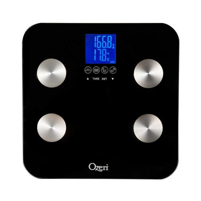 Ozeri Touch 440 Lbs Total Body Bath Scale Measures Weight Fat Muscle Bone And Hydration With Auto Recognition And Infant Tare Technology In The Bathroom Scales Department At Lowes Com