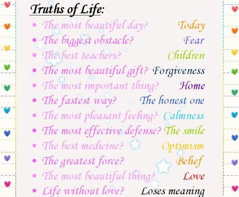 Truths Of Life Beautiful Thoughts For Life Inspirational