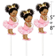 Set of 3 Pink African American Princess Centerpieces Royal