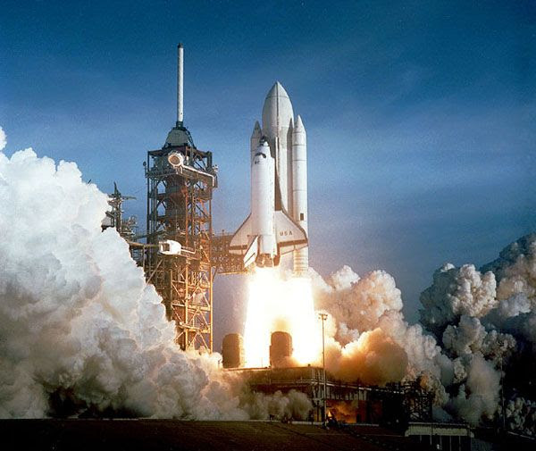 Space shuttle Columbia heads into space on her first flight, on April 12, 1981.