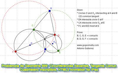 Problema de Geometría 899: Circunferencias Secantes, Tangente Común Exterior, Cuadrilátero Inscriptible, Puntos Cocíclicos, GeoGebra, Animación HTML5 para Tabletas
