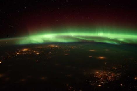 Imagen de una aurora vista desde la Estación Espacial. | NASA