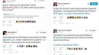 Tuits de dirigents d'ERC i de CDC reclamant responsabilitats a Fernández Díaz
