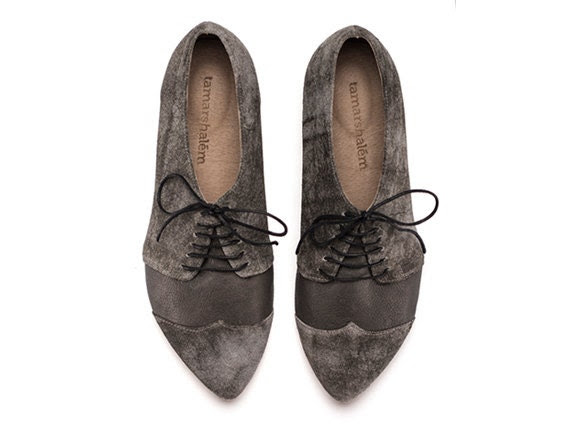 Polly Jean, smoke, grey shoes, flat shoes, leather shoes - TamarShalem