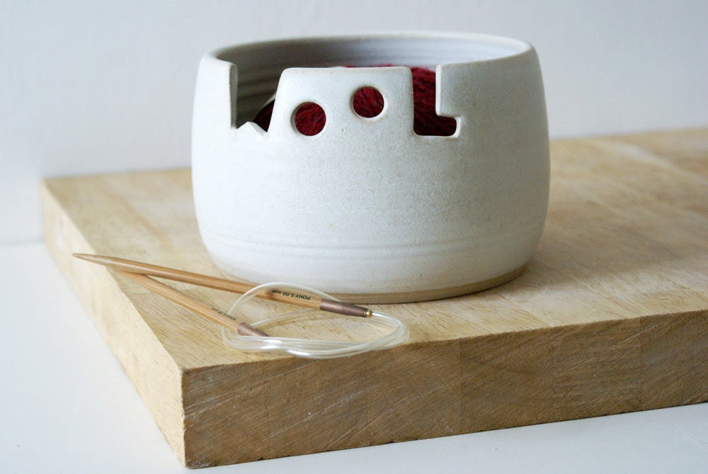 Made to order - The 'wool' yarn bowl, hand thrown custom pottery yarn bowl - LittleWrenPottery
