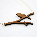 Walnut Bird on Branch Necklace