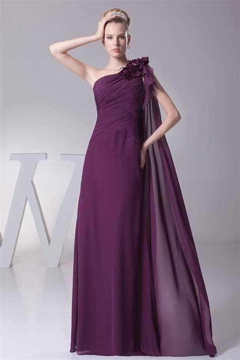 Elegant One Shoulder Folded Chiffon Evening Dress in Grape
