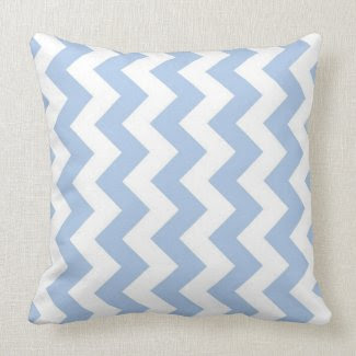 Light Blue and White Zigzag Pillow