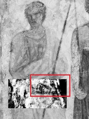 Fresco (Trois hommes armes de lances) and terahertz scan